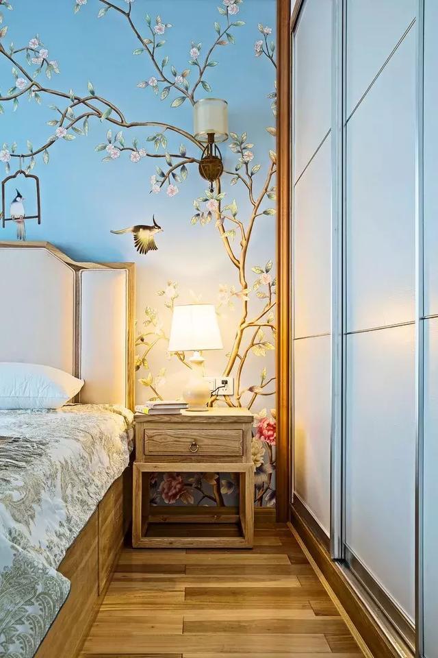 130㎡新中式风格卧室背景墙装饰