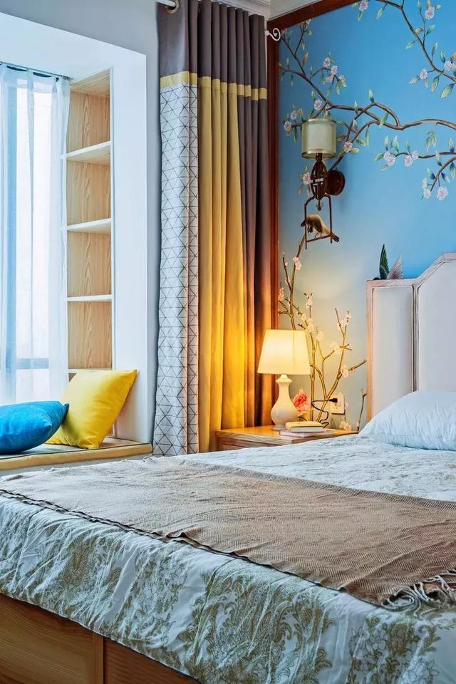 130㎡新中式风格卧室装饰设计