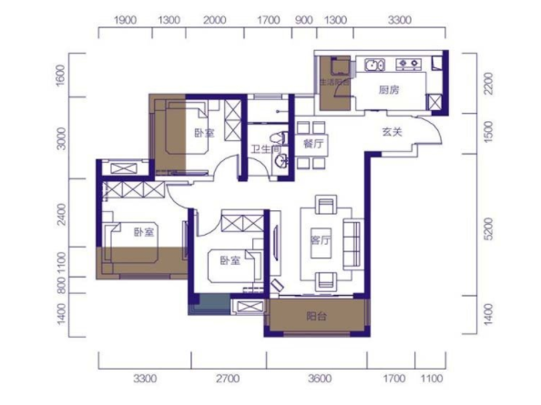 88平三居室装修案例 16W打造欧美风情装修风格