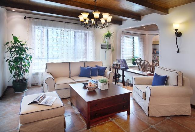 105㎡美式田园客厅装饰设计