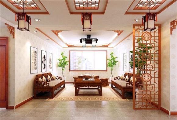 保定装修分享中式客厅装修效果图 巧妙的柔和展现传统古韵