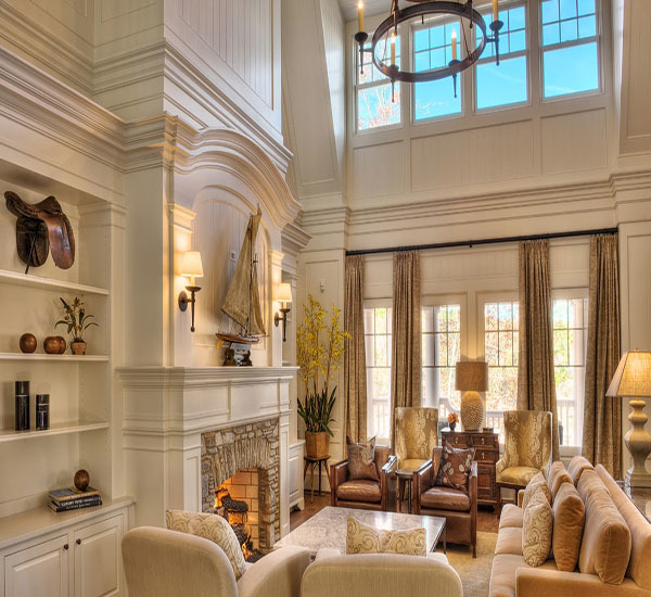 复式楼客厅挑高设计方案_挑空别墅欧式中空客厅设计_6