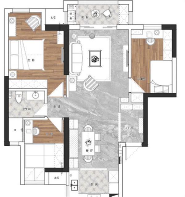 120平米三室两厅简装图