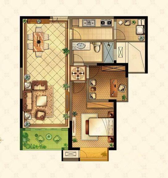 88平米loft公寓户型图