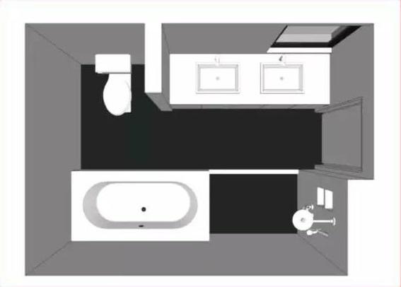 长方形卫生间布局方法
