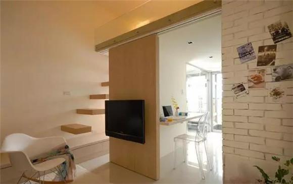 40㎡单身公寓客餐厅一体装修效果图