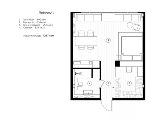 40㎡单身公寓装修效果图