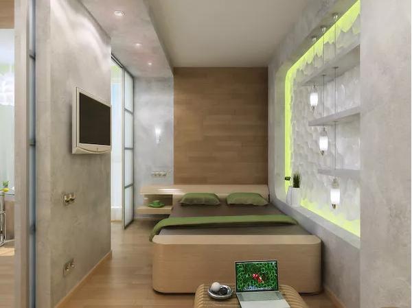卧室与厨房的隔断设计像水泥墙