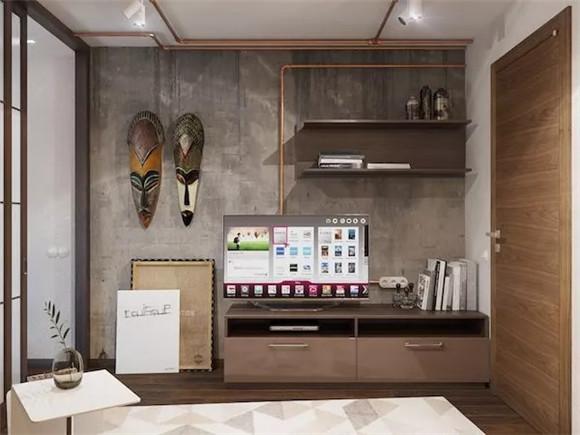 48㎡单身公寓书柜装修