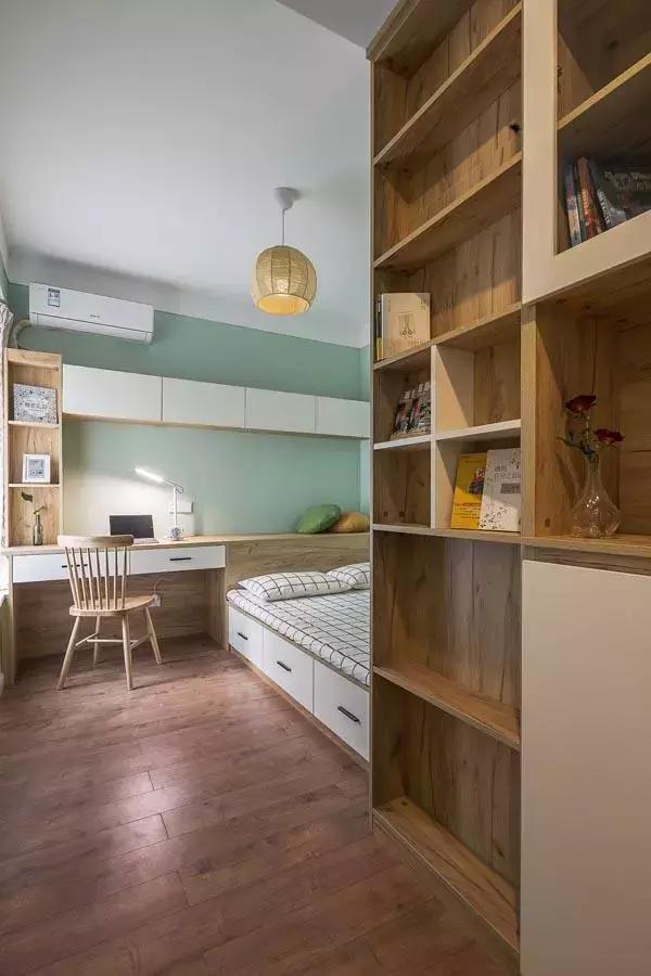 70平米两居室北欧风格装修案例分享 网红砖、复古皮沙发、薄荷绿墙色