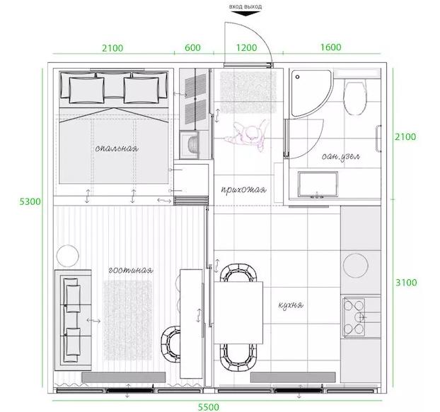 公寓被分为独立的三块区域