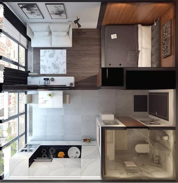 公寓三维俯视图