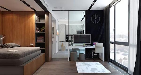 客厅有个小型的工作室区域