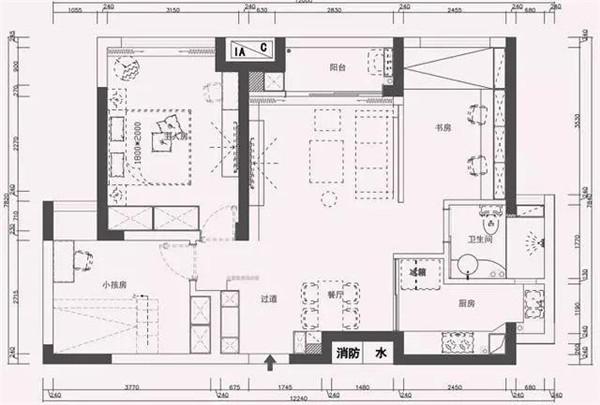 80平米两室一厅北欧风房屋装修户型图