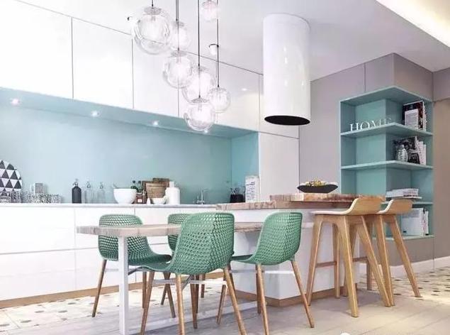 蓝色+白色系厨房装修效果图