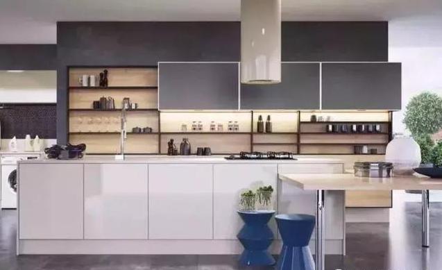 蓝色+灰色系厨房装修效果图