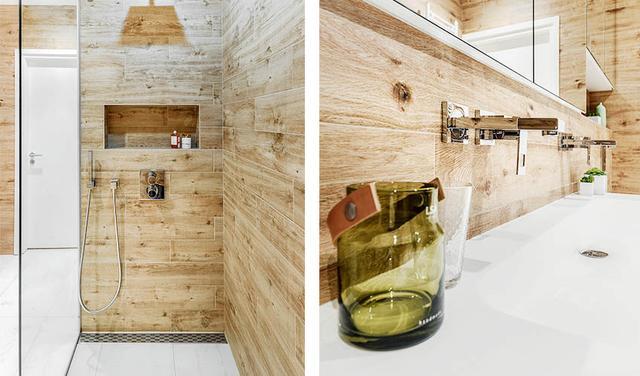 淋浴房里的墙壁也是木质的
