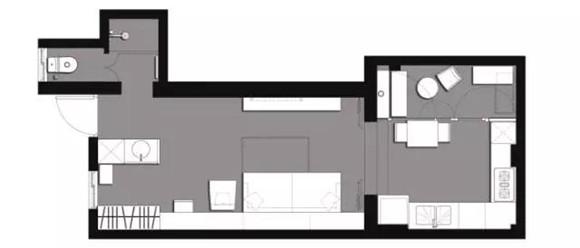 56平旧房改造后平面布置图