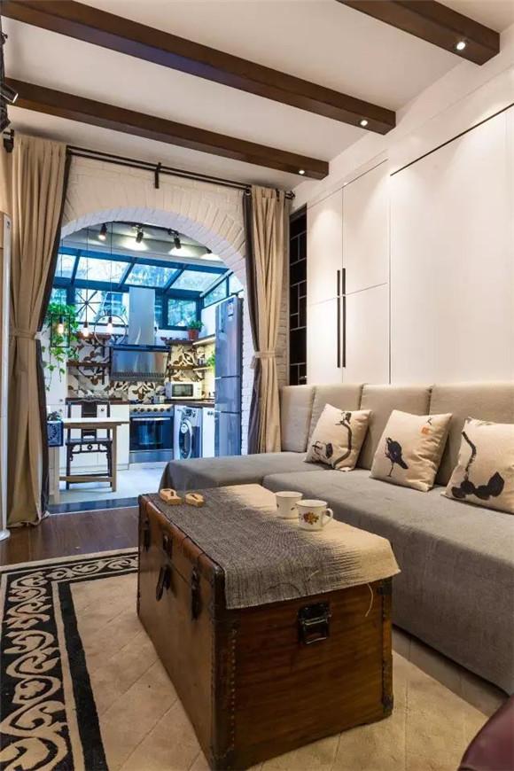 56平旧房改造客厅细节装修效果图