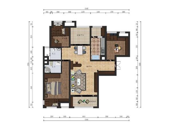 120平三室两厅户型图