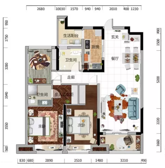 119平三室两厅现代美式装修户型图
