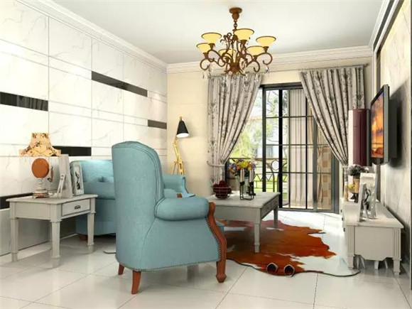 119平三室两厅现代美式客厅装修