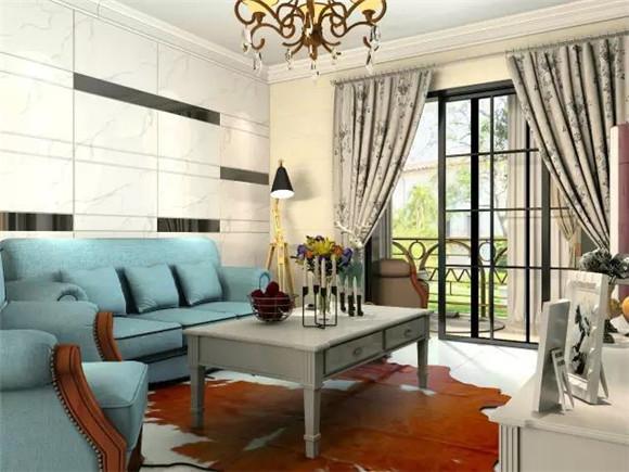 119平三室两厅现代美式客厅家居装修