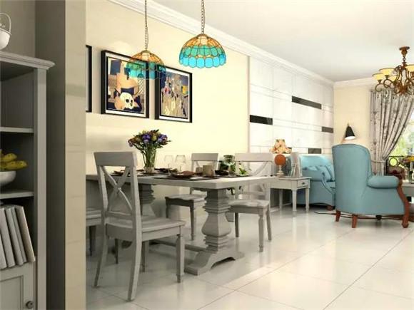 119平三室两厅现代美式餐厅装修