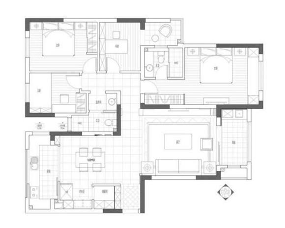 130平米三室两厅装修户型图
