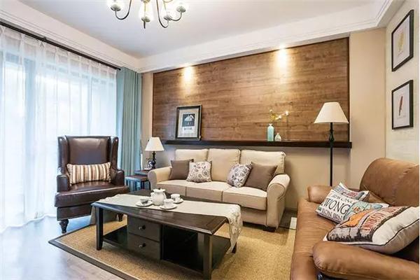 大地色沙发背景墙的客厅
