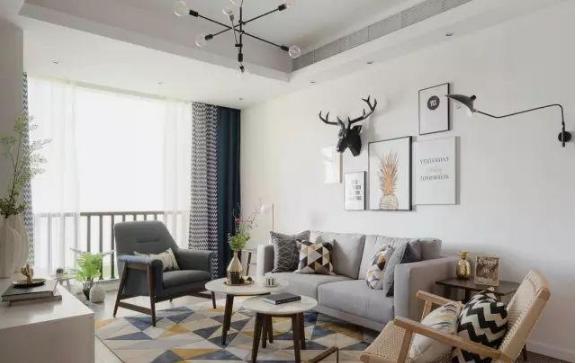103㎡北欧风格新房客厅装修