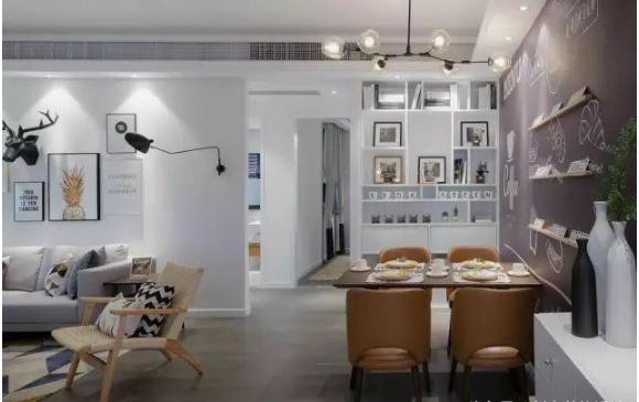 103㎡北欧风格新房餐厅装修