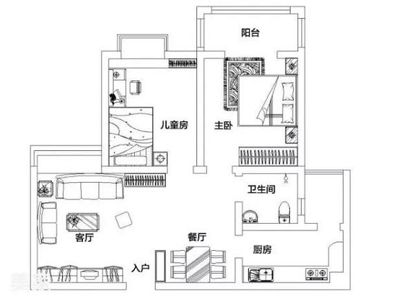 90平米两室一厅户型图