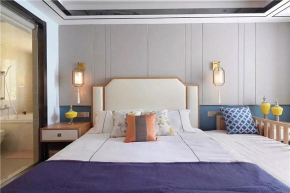 145平米新中式三居室主卧装修