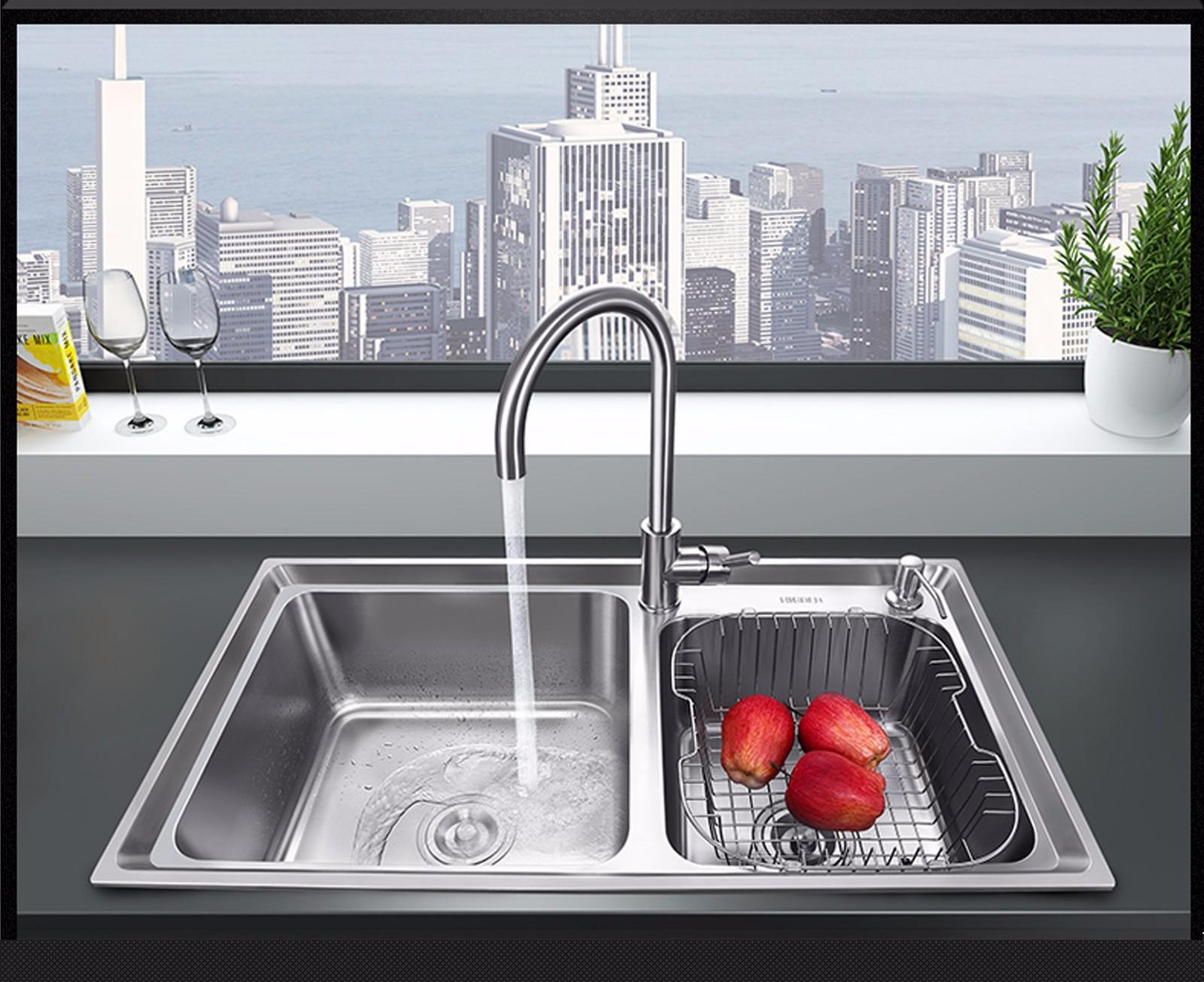 大厨房双水槽实用性高