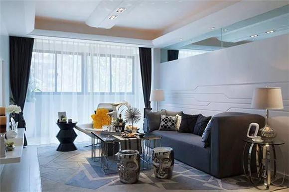 117㎡现代简约三居室客厅装修