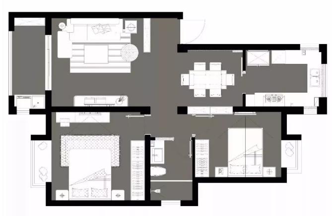 90平米房屋平面布置图