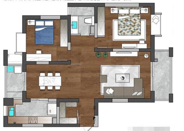 90平米两室两厅户型图