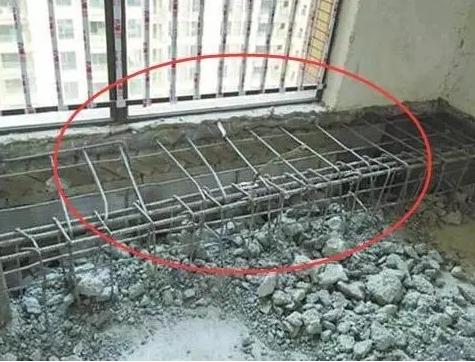 假飘窗台面内部有钢筋