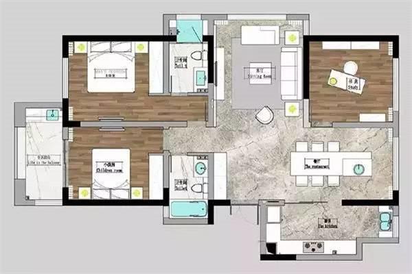 135平米2居室户型图