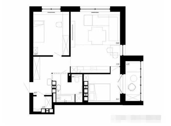 60平两室一厅户型平面图