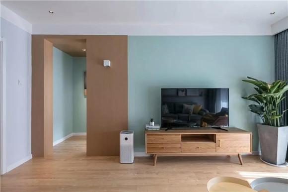 101㎡北欧小清新风客厅电视背景墙装修