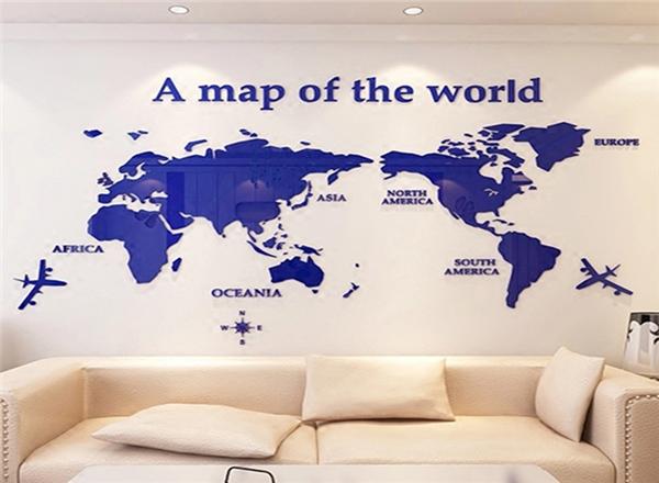 世界地图亚克力贴画