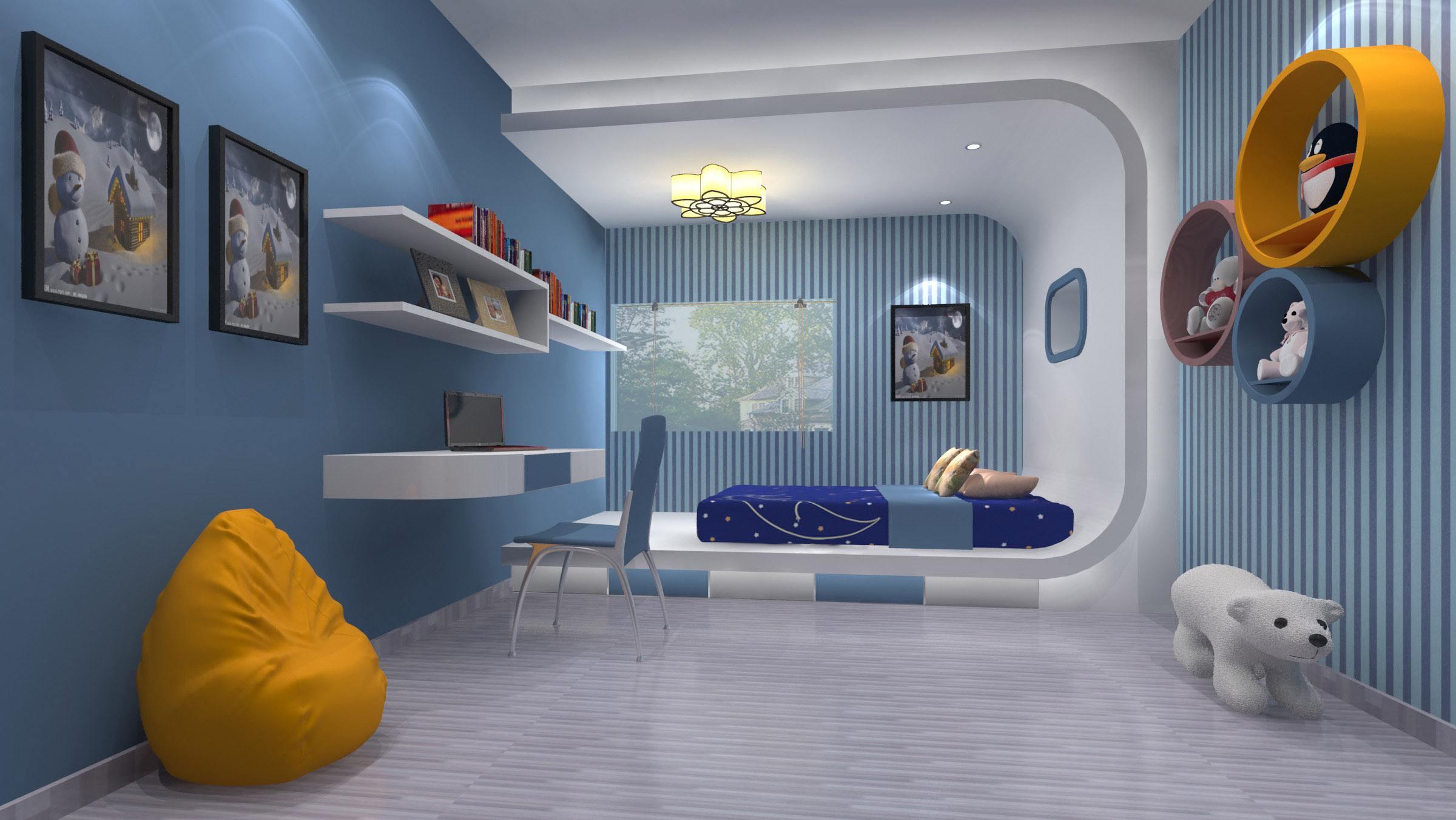 小男孩卧室装修样板房