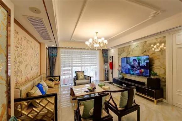 108平米新中式客厅布局
