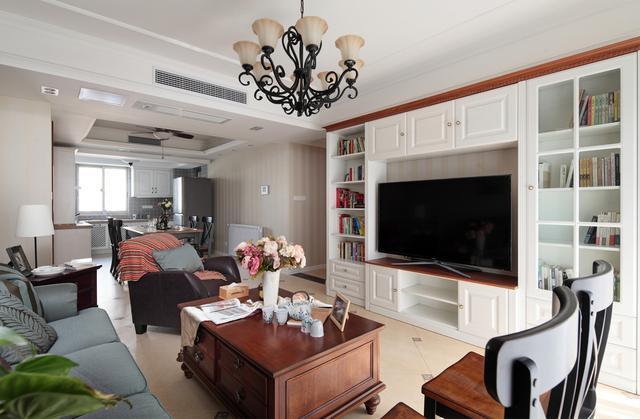 110平米美式风格三室两厅客厅装修