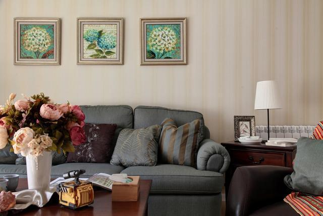 110平米美式风格三室两厅背景墙装饰