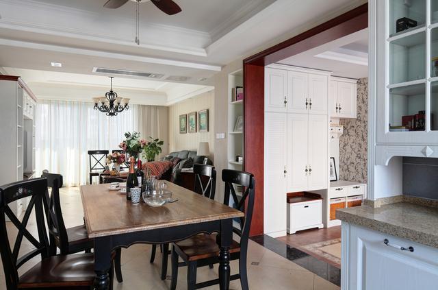 110平米美式风格三室两厅餐厅装修