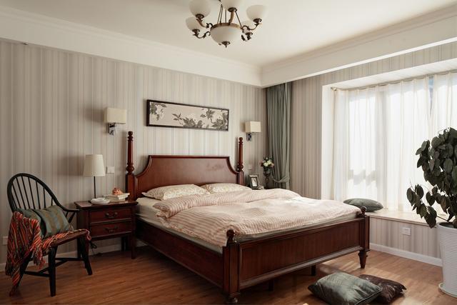 110平米美式风格三室两厅卧室装修