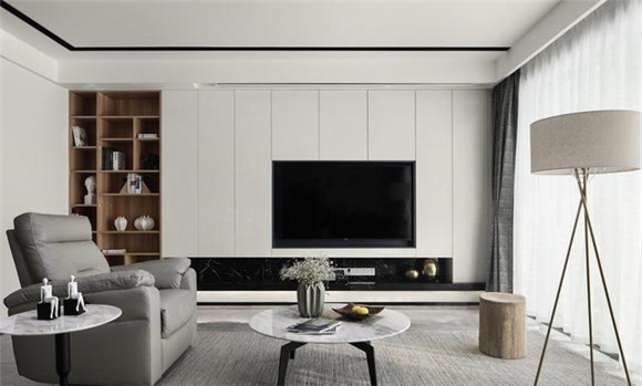 125平米现代简约客厅电视背景墙装修